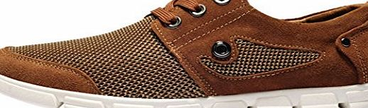 GUCIHEAVEN  Mens Spring Summer Air Mesh Casual Leather Low Top Lace-up Flats Size 43 EU Brown