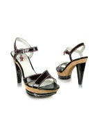 Jenda2 - Black Patent Leather Cork Platform Sandal Shoes