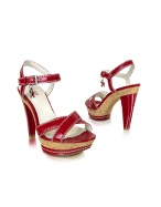 Jenda2 - Cranberry Patent Leather Cork Platform Sandal Shoes