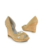 Library - Beige Suede Cork Wedge Sandal Shoes