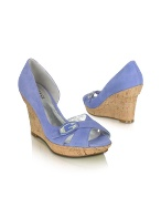 Library - Blue Suede Cork Wedge Sandal Shoes