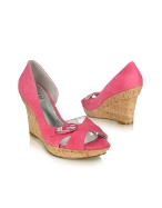 Library - Pink Suede Cork Wedge Sandal Shoes