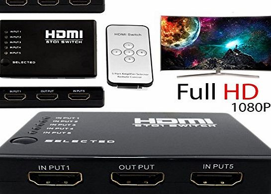 Gyges 5-Port (5x1) HDMI Switch Hub Switcher   AC Power Adapter with IR Remote Supports 3D High Definition Full HD1080P for HDTV PC, Support for HDMI, 3D TV, HDCP Repeater