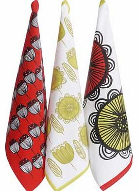 Habitat Freda Set of 3 Floral Patterned Tea Towels