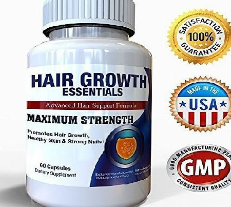 Hair Growth Essentials #1 Rated Hair Loss Supplement for Women and Men - 30 Day Supply