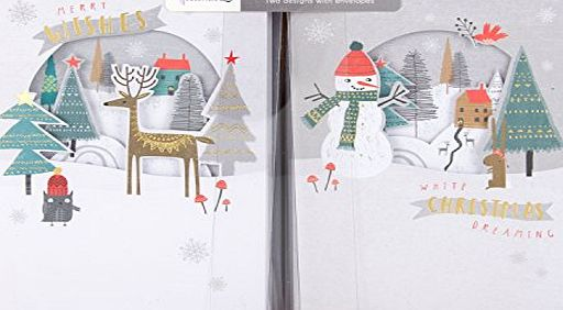 Hallmark Handmade Christmas Card Pack Merry Wishes - 10 Cards, 2 Designs
