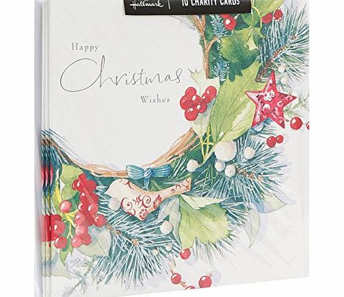 Hallmark Traditional Charity Iridescent Glitter Design Boxed Christmas Card (Pack of 10)