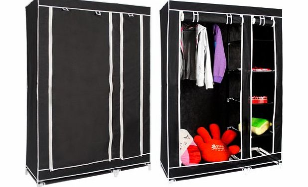 Hapilife� Double Canvas Wardrobe with Clothes Rail Shelves Bedroom Storage Furniture Black product image