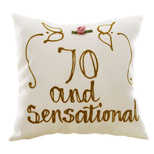 Happy 70th Birthday Hand Painted Silk Pillow product image