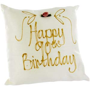 happy 90th Birthday Hand Painted Silk Pillow product image