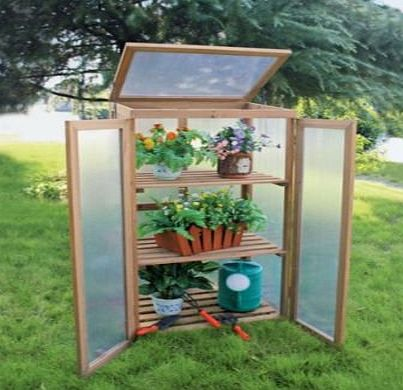 Happy Monkey Cold Frame Wooden Mini Greenhouse Timber Plants Vegetables Growhouse Upright