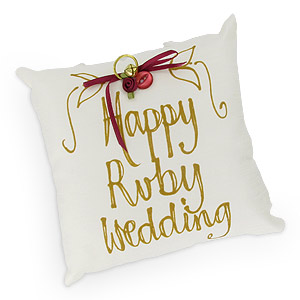 Unusual Ruby Wedding Gifts Uk : happy Ruby Wedding Hand Painted Pillowreview, compare prices, buy ...