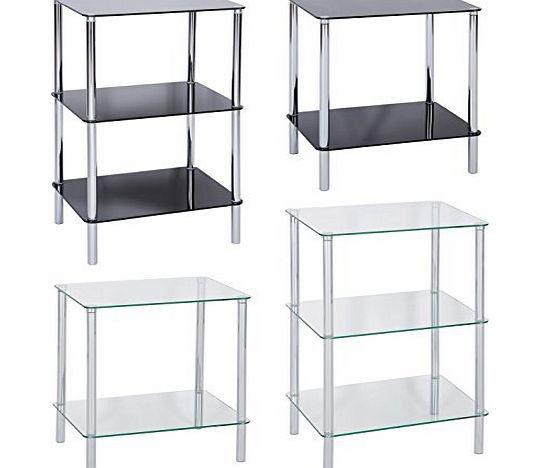 Hartleys Glass Tables - Available in Black Or Clear - 2, 3 amp; 4 Tier