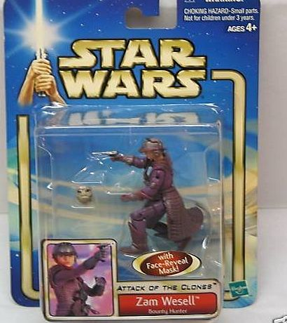 Hasbro Star Wars Attack Of The Clones Zam Wesell Bounty Hunter With Face Reveal Mask Action Figure