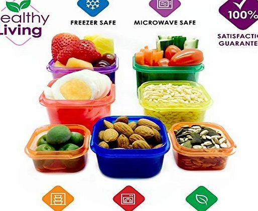 Healthy Living 7 Piece Portion Control Containers Kit with COMPLETE GUIDE, Multi-Colored Coded System, 100 Leak Proof - Comparable to 21 Day Fix!