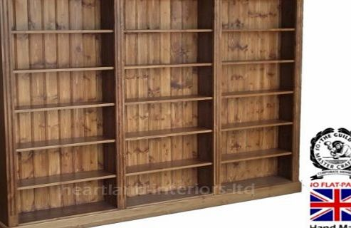 Heartland Pine Solid Pine Bookcase, 6ft x 7ft 6`` Handcrafted