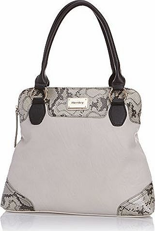 Henleys Henley Womens Naomi Tote, Grey/Snake/Black