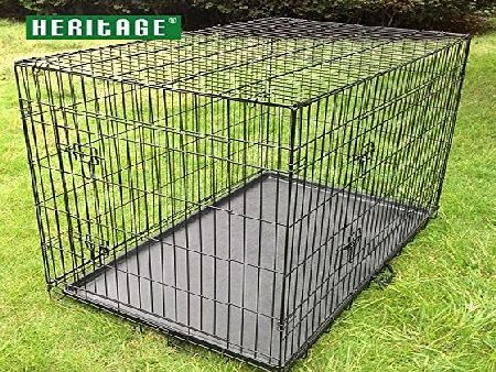 HERITAGE PET PRODUCTS HERITAGE DOG PUPPY CAGE FOLDING 2 DOOR CRATE BLACK S M L XL 24`` 30`` 36`` 42`` (30`` Medium)