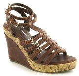 Platino `Bethan` Ladies Gladiator Style Wedge Sandals - Tan - 6 UK