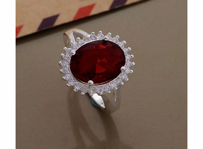 Himanjie Ladies Blood Red Ring With Brilliant Round Crystal 925 Silver Plated rings Jewelry product image