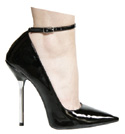 5 Inches / 12.5cm heel. Elegant and adjustable ankle strap to an already super-sexy pointed-toe pump - CLICK FOR MORE INFORMATION