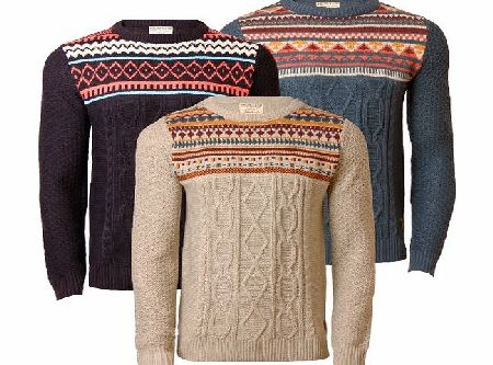 Mens Jumper Holmes amp; Co Knitwear Fair Isle Cable Knit Sweater Pullover Nordic, Oatmeal, Medium - CLICK FOR MORE INFORMATION