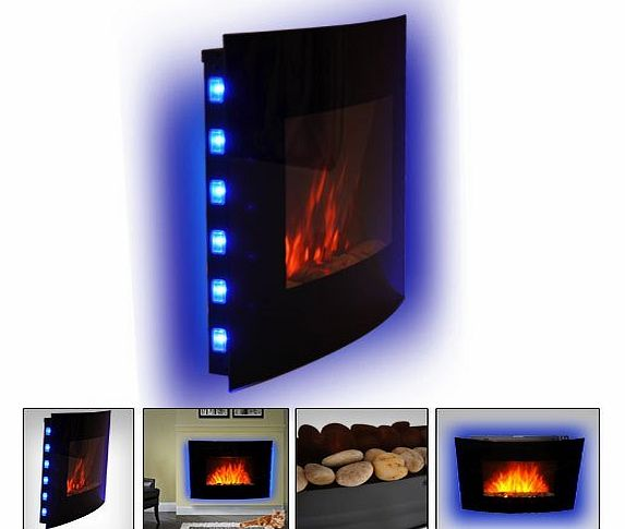 LED CURVED GLASS ELECTRIC WALL MOUNTED FIRE PLACE FIREPLACE 7 COLOUR SIDE LIGHTs SLIMLINE PLASMA FAN HEATER
