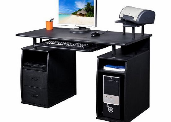 Homcom Large Black Wooden Office Computer PC Table Desk Desktop Home Study Furniture with 2 Drawers and 4 Shelves NEW
