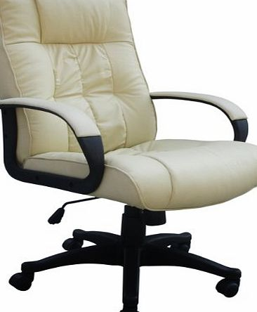 Home leisure online padded cream leather office chair for Cream office chair