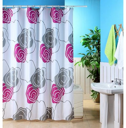 Home Range Online Fuchsia Silver White Metallic Flower Polyester Shower Curtain With Hooks