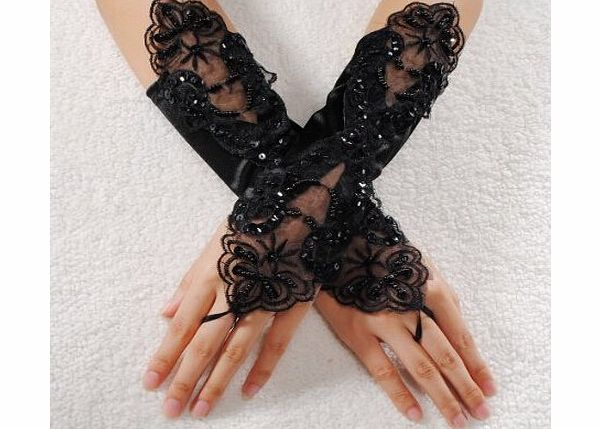 homeking Sexy Bride Wedding Party Fingerless Pearl Lace Satin Bridal Gloves Fancy,Black