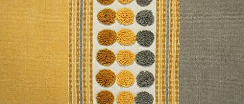 Homescapes Grey Ochre Yellow Modern Cotton Chenille Rug 60 x 100cm Tufted Circles amp; Hand Woven Striped Mat product image