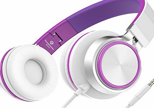 Honstek Sound Intone Stereo Headsets Strong Low Bass Headphones Lightweight Portable Adjustable Wired Over Ear Earbuds for MP3/4 PC Tablets Cell Phones (White/Purple)