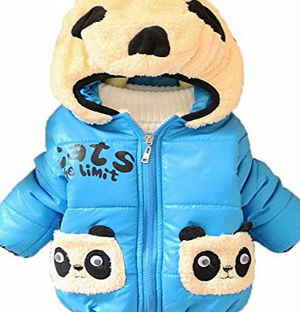 Fashion Baby boys and girls unisex Winter Jackets Girls Boys Hoodies Fleece Animal Panda Coats (6-12 month, blue)