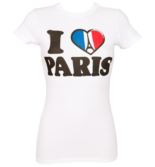 House of Mental Ladies White I Love Paris T-Shirt from House of product image