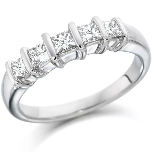 0.5 Ct Five Stone Princess Cut Diamond Ring In 18 Carat White Gold