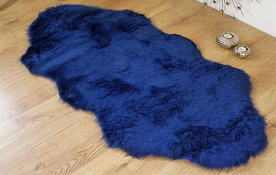 houseware online Royal blue navy faux fur sheepskin style double rug 70 x 140 cm product image