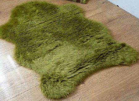 houseware online Single sheepskin style faux fur rug Moss Lime green 100 x 70 cm washable non-slip furry mat kids product image