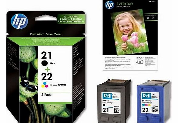 Original HP 21 Black & 22 Colour Printer Ink Cartridges & 10x FREE HP Advanced Glossy Photo Paper For use with HP Deskjet F2180/F2187/F2280/F2290