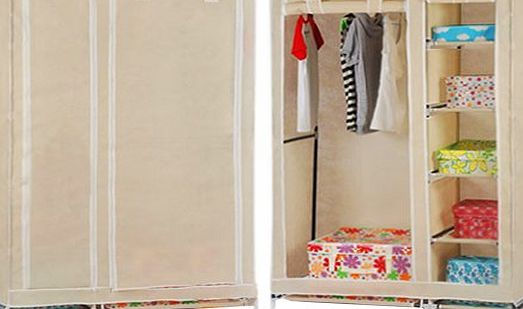 HST Mall Double Canvas Wardrobe with Clothes Hanging Rail Shelves Bedroom Storage Furniture Beige product image