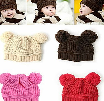 1X Girl Boy Baby Dual Ball Knitted Sweater Cap Winter Autumn Warm Hat(beige)