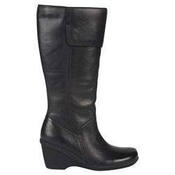 Hush Puppies Female Katiyana Leather Upper Textile Lining Comfort Calf Knee Boots in Black