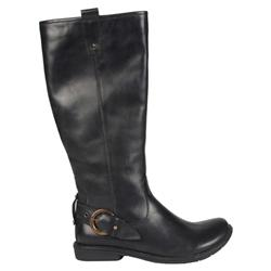 Female Rein Leather Upper Textile Lining Comfort Calf Knee Boots in Black, Brown