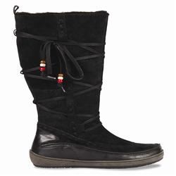 This great winter wear boot in suede and leather features ties up the leg and bead trim. This versatile casual wear boot is perfect for winter as it comes in worry free suede. - CLICK FOR MORE INFORMATION