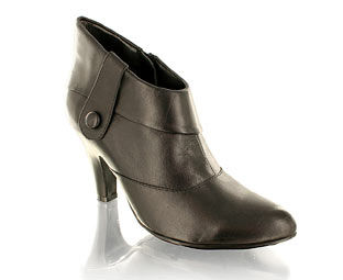 Leather Ankle Boot With Button Trim
