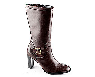 Leather High Heeled Boot with Buckle Detail