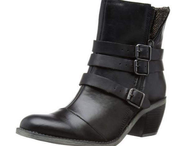 The Rustique Ankle boots from Hush Puppies feature smooth black leather uppers and textile ankle section to the side. The half opened metallic zip and three buckled strap (Barcode EAN = 0883290048002). - CLICK FOR MORE INFORMATION