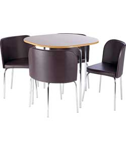 amparo oak dining table and 4 brown chairs