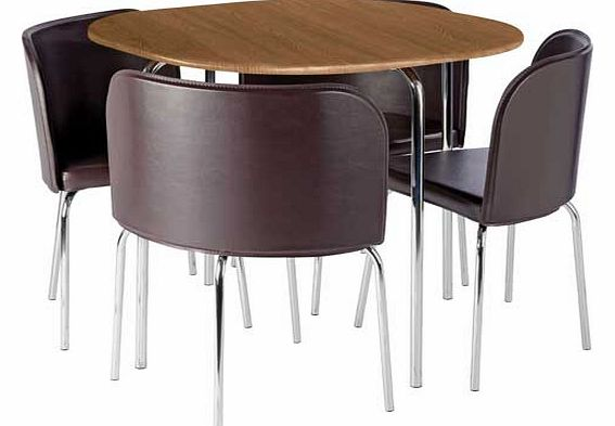 amparo oak effect dining table and 4