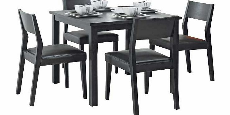hygena black square dining table and 4 chairs hygena black